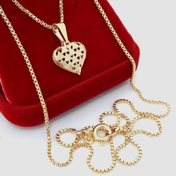 Colar Corrente Feminina Banhado Ouro 18k Coração Semi Joia