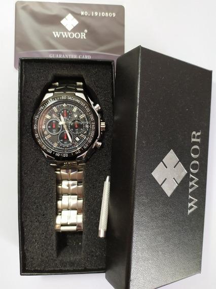 Relógio Wwoor 8868 Prateado Original Na Caixa Frete Grátis