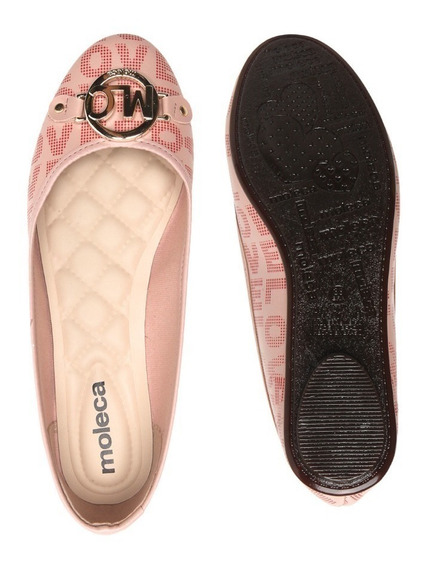Sapato Feminino Sapatilha Moleca Logo Metal Rosa Barato