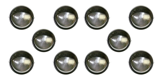 Tartaruga Circular 18cm Aluminio 1lamp Meia Cana Preta 10 Un