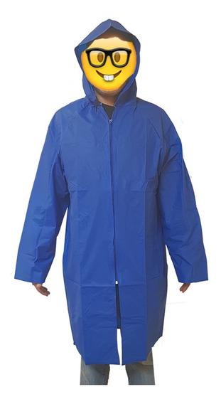 Impermeable Poncho Cierre Azul Rey Grueso Unitalla Unisex
