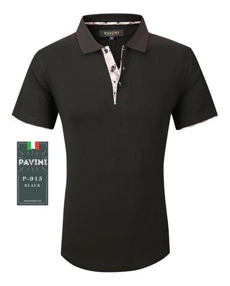 Playera Tipo Polo De Caballero Marca Pavini Negra P915 Original Importada Usa Envio Gratis Meses Sin Interes Y Garantia