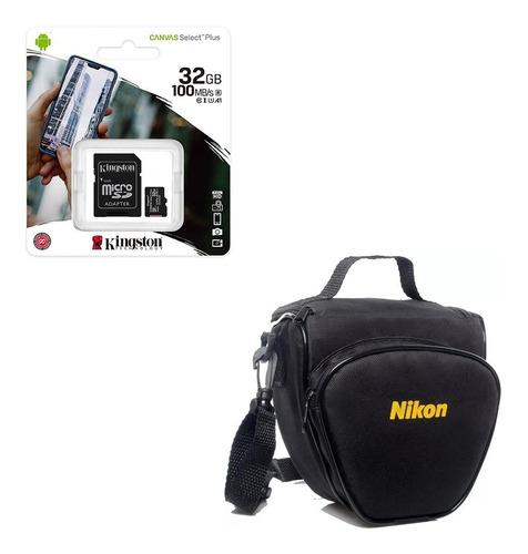 Cartão De Memoria Kingston 32 Gigas 100 Mb/s+ Bolsa P/nikon