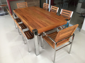 1 Mesa, 2 Poltronas, 8 Cadeiras,madeira Demolição E Aço Inox