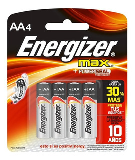 4 Pilas Aa Energizer Alcalina 1.5v E91 Juguetes Tensiometros