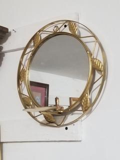 Candelabro Portavelas Con Espejo Hermoso En Metal Remato