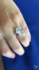 Anel Oval Pedra Zircone Cristal Prata 925