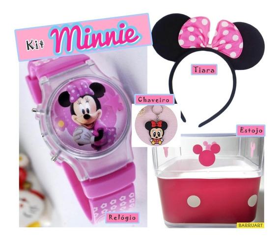 Kit Minnie Relógio Infantil Menina Estojo Tiara Chaveiro