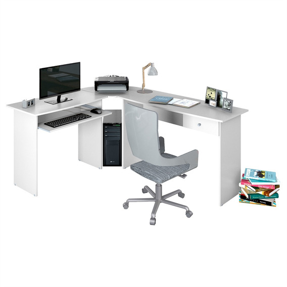 Mesa De Escritório Zanzini Móveis Max L Com 1 Gaveta Branco
