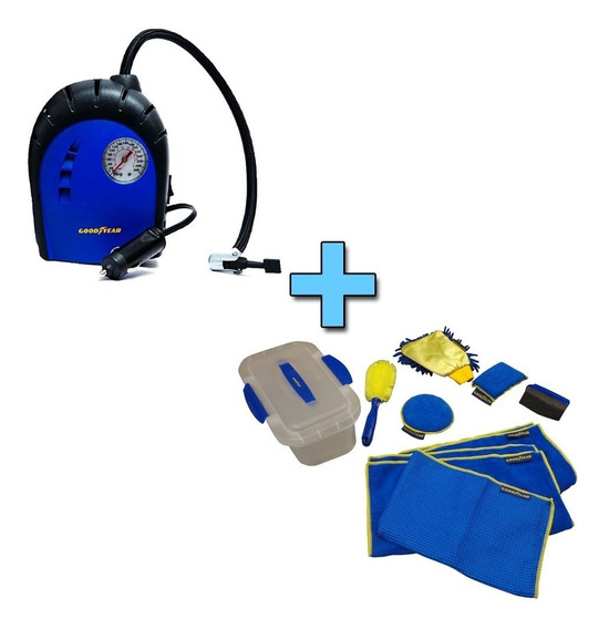 Combo Auto Compresor De Aire Portatil+kit Limpieza Goodyear