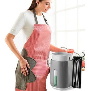 Kit Dispensador Jabon Trastes + Mandil + Popotes Acero Inox