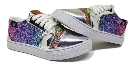 Zapatillas Nenas Niñas Color Multicolor-tornasolado Envíos