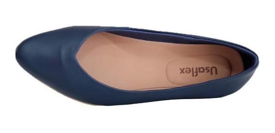 Sapato Feminina Usaflex Bico Fino Couro Metalizado Azul 6204