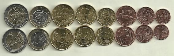 Serie De 7 Monedas De Euros De Grecia Sin Circular