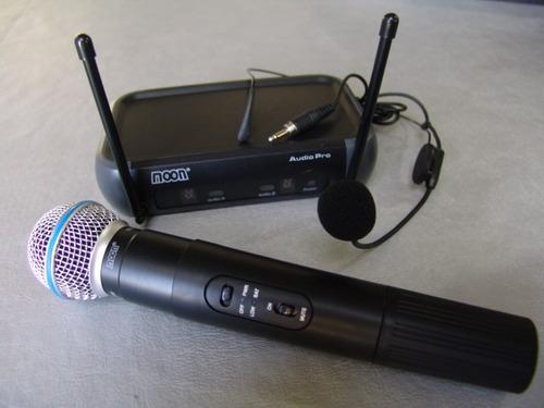 Moon  Microfono Doble Inalambrico Vhf Mano Y Vincha M101vdmh