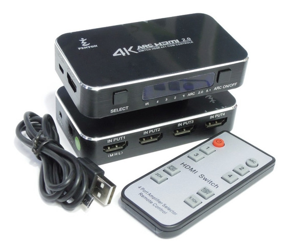 Chaveador Switch Hub Hdmi 4x1 4k Com Fonte E Controle Remoto