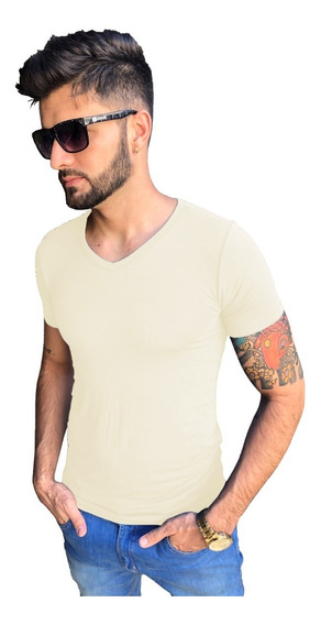 Camisa Slim Gola V Em Viés Viscose Com Elastano Manga Curta