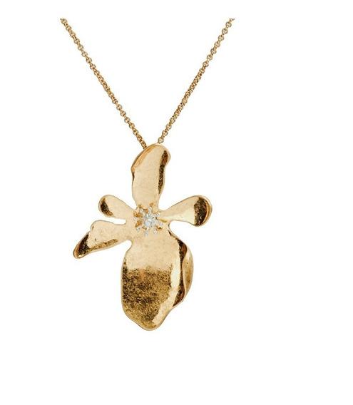 Luckyly Collares De Mujer Doris Dije Flor, Baño Oro, Plata