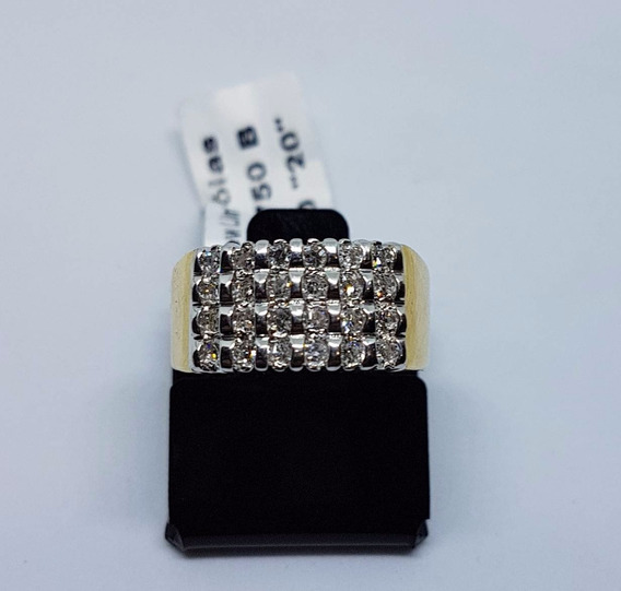 Anel Em Ouro Amarelo 18k 750 Rode Branco 24 Diamantes 8,00g