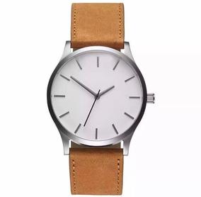Relógio Analógico Masculino Pulseira Marrom Caixa Branca Ret