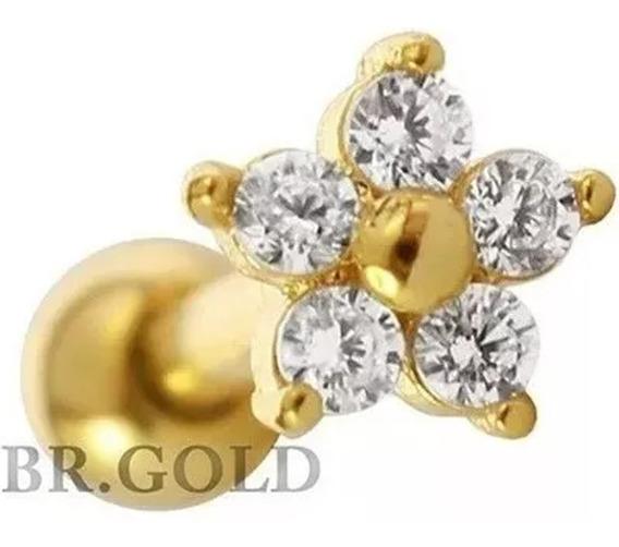 Piercing De Tragus Mini Flor Folheado A Ouro Super Delicado