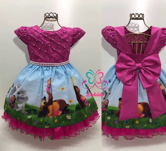 Vestido Da Masha Infantil Aniversário Infantil Luxo