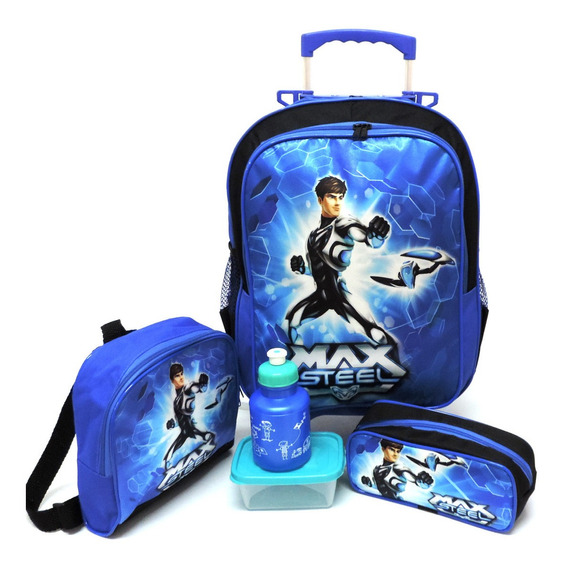 Kit Mochila Infantil Escolar Max Steel Azul Rodinhas G F2