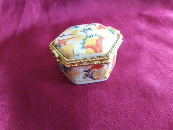 Porta-jóias Miniatura De Porcelana Decorado (antigo)