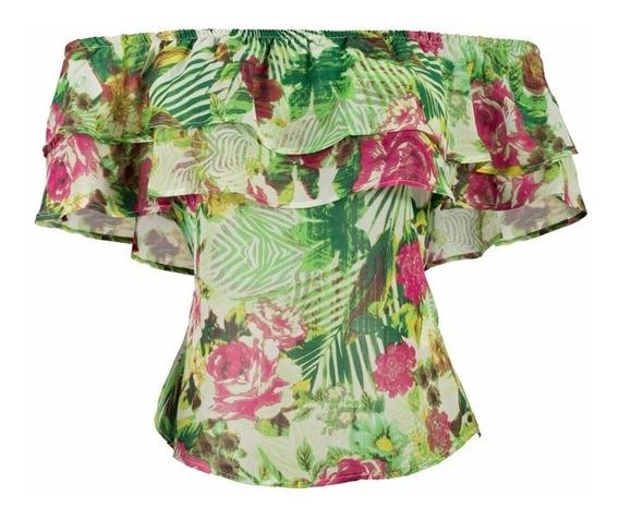Blusa Campesina Estampado Flores Bolero Frente Marca Posuit