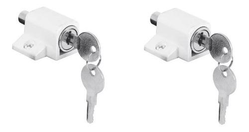 Cerradura Puerta Ventana Corrediza Lk-450 Blanca Kit X 2 Uni