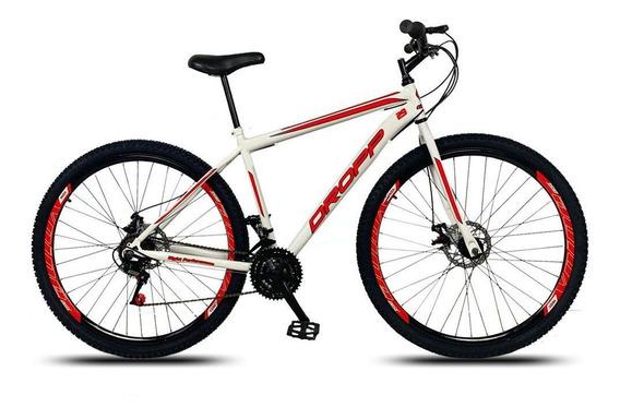 Bicicleta Aro 29 Q17 Freio Mecânico 21v Aço Branco Vermelho
