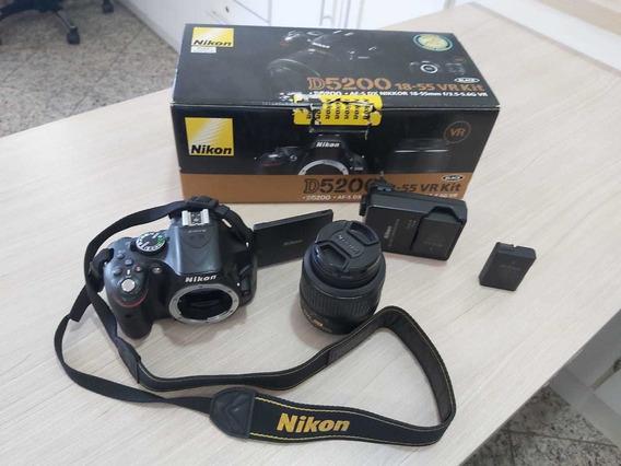 Câmera Nikon D5200 Com Lente 18-55 E Duas Baterias - Com 45k