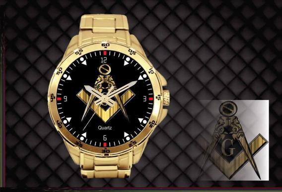 Relógio De Pulso Personalizado Maçonaria Maçon - Cod.1128