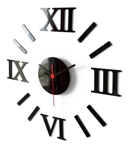 Relógio De Parede Romano Black Piano Monte Você Grande Sala