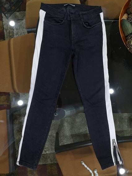 Pantalon Disponible Negro Zara 38 40 Con Raya A Los Lados