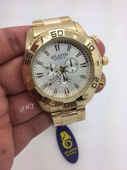 Relógio Atlantis Dourado Branco 3243 Masculino Caixa