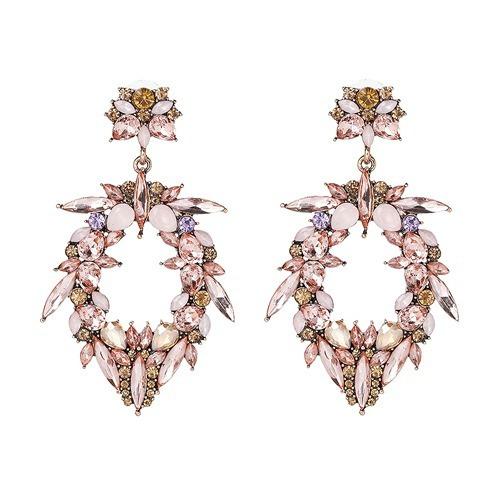 Aretes De Motitas Borlas Moda Cristal Maxi Grandes Flores
