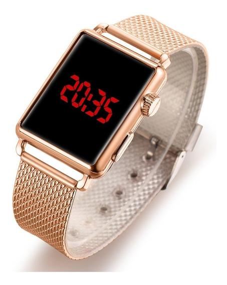 Relógio Feminino De Led Dourado Quadrado Luxo Oferta