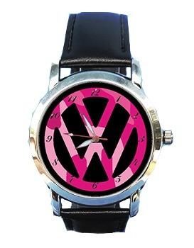 Relógio Feminino Volks Rosa Vw Fusca Couro Preto Top