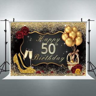 50 ° Cumpleaños Telón De Fondo Negro Oro Mujer Globos C...