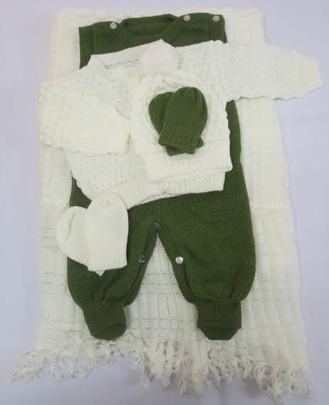 Saída Maternidade Tricot Unisex Crú / Verde Vereda
