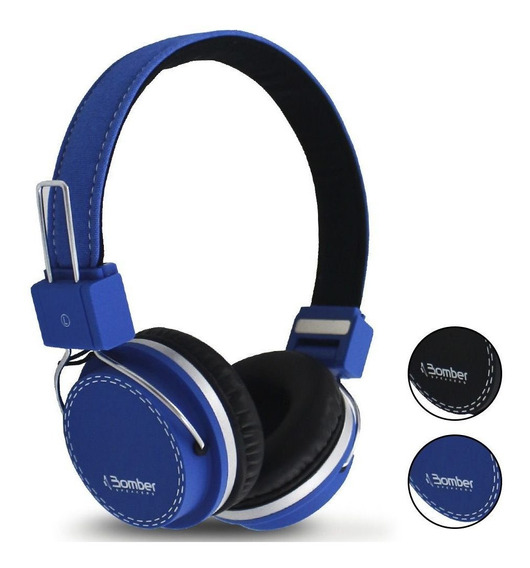 Headphone Bomber Quake Hb02 Cabo Destacável Black & Blue