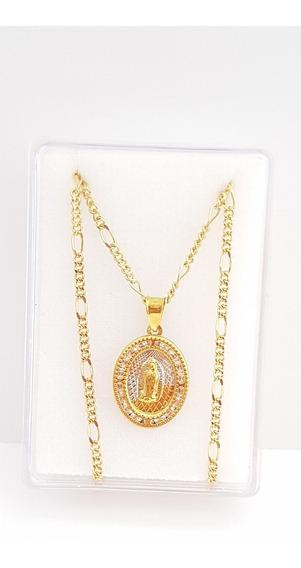 Medalla Virgen De Guadalupe Oro Con Cristales Y Cadena Envio
