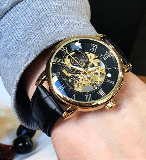 Relógio Semi Automático Social Dourado / Forsining Original