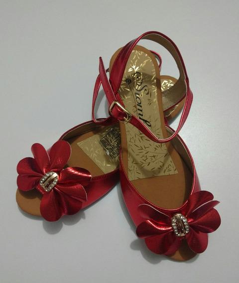 Sandalia Plana De Pétalos Color Rojo Moda Mujer Envío Gratis