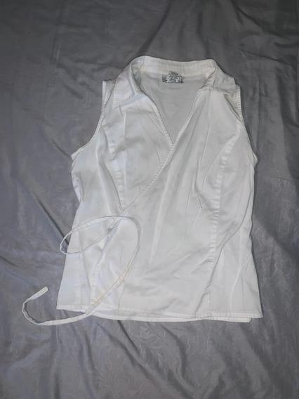 Blusa Loft 4p Cruzada Con Cordones Blanca
