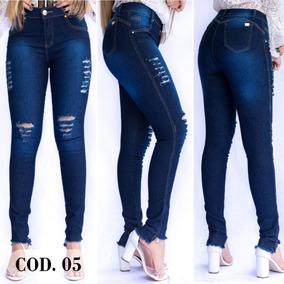 Calça Jeans Feminina Cintura Alta Cós Alto Levanta Bumbum