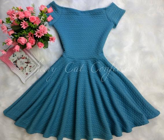 Vestido Rodado Gode Feminino Azul Malha Jaquard Qualidade