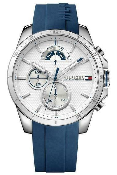 Relógio Masculino Tommy Hilfiger Borracha Azul Original Top