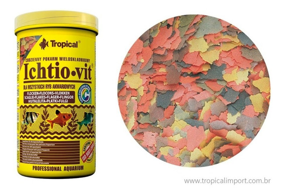 Racao P/ Peixes Ornamentais Ichtio Vit 50g Flakes Tropical